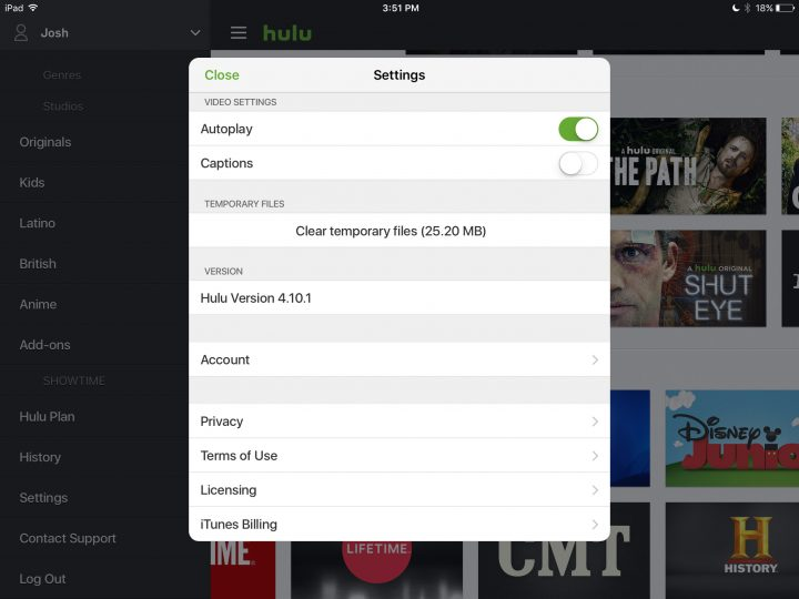 Clear the Hulu cache on iPhone and iPad.