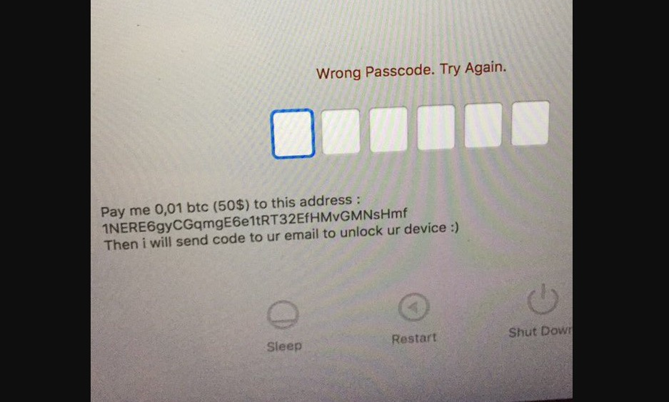 An example of the message users are seeing when locked out of their Mac remotely. Photo via @bunandsomesauce