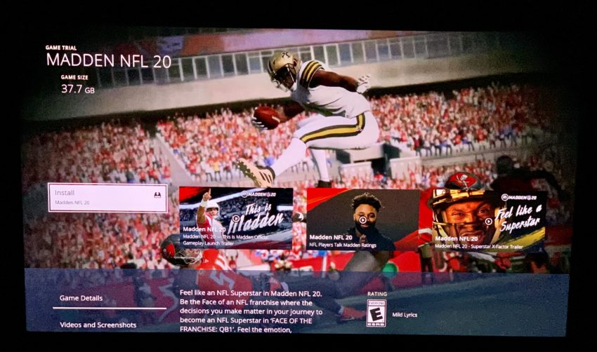 Download the Madden 20 trial right now.