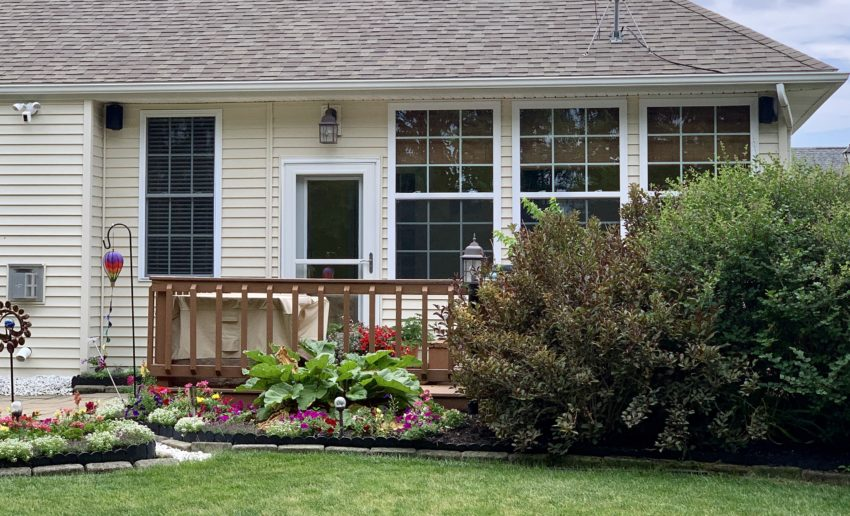 This installation makes it easy to keep the sound focused on the deck with a hot tub at night or to fill the yard.